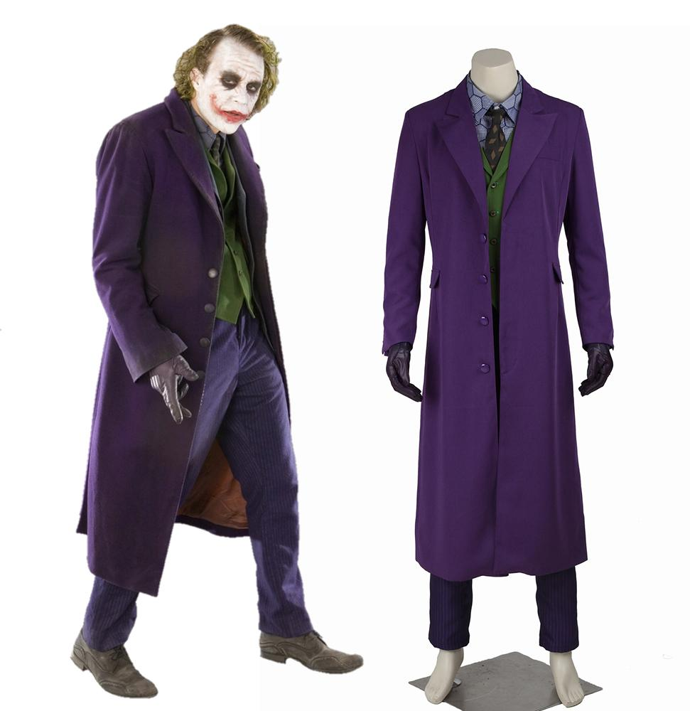 DC Batman: The Dark Knight Joker Cosplay Costume Trench Coat Vest Shirt Pants Tie Gloves without Suit for Halloween Carnival