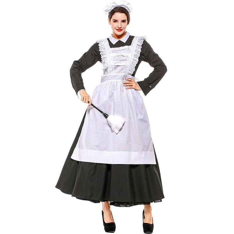 French Maid Costume Adult Women Black White Long Gown Arpon Dress Victorian Housekeeper Cosplay Outfit Ladies Xxxl