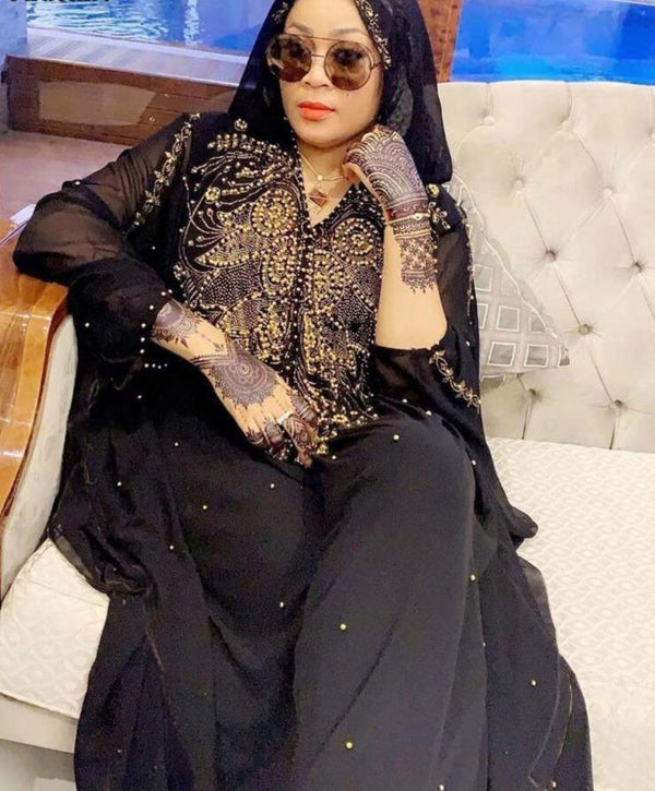 Plus Size African Dresses Dashiki Diamond Beads African Clothes Abaya Dubai Robe Evening Long Muslim Dress Hooded Cape