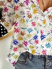 Women's Casual Multicolor Flowers Dots Long Sleeve Shirt