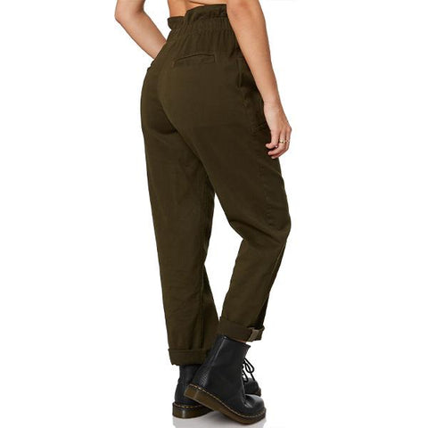 Women's Drawstring Button Paper Bag Colonel Pants