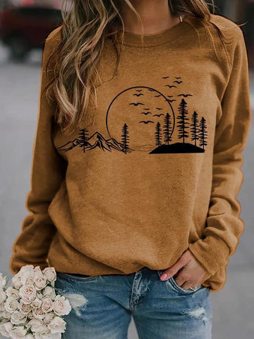 Ladies mountain scenery printing sweatshirt