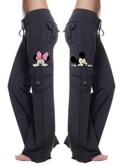 Women's Mickey Print Drawstring Stretch Pocket Casual Pants