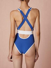 Load image into Gallery viewer, Blue One-Piece Swimsuit V-neck Cross Strap Back