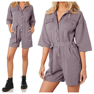 Women's Loose Button One-Piece Suit