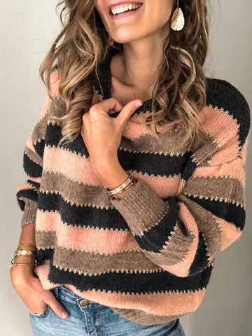 PLUS SIZE LONG SLEEVE FASHION STRIPED PRINTED CASUAL SWEATER