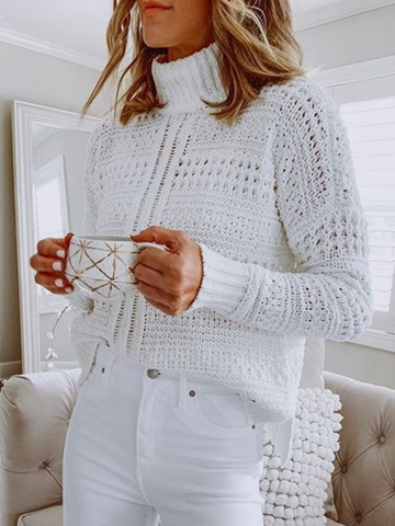 Plus size White Turtleneck Long Sleeve Sweater