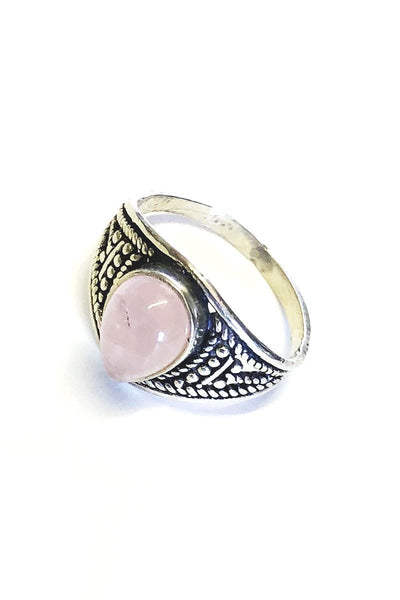 Pink Sterling Silver Onyx Ring