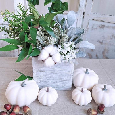 6 fake white pumpkins for Halloween Christmas decoration