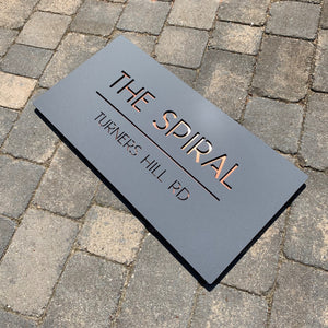 Rectangular Modern House Signs which come is various sizes and layouts.  Font choices and a design preview helps you buy with confidence.