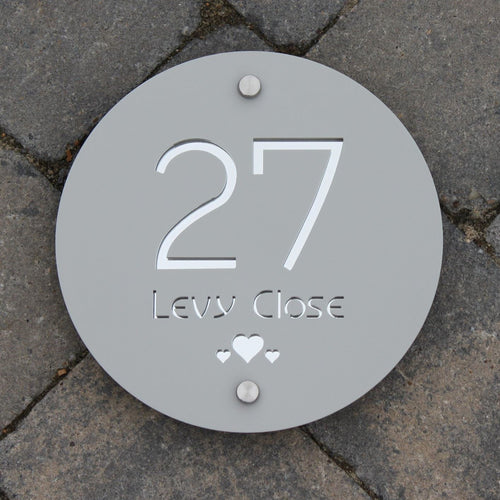 Modern Round House Address Sign 20 cm Diameter - KREATIV DESIGN