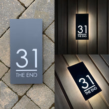 Load image into Gallery viewer, Contemporary Illuminated LED Backlit House Sign/Bespoke Address Plaque 15cm x 30cm - KREATIV DESIGN