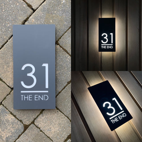 Contemporary Illuminated LED Backlit House Sign/Bespoke Address Plaque 15cm x 30cm - Kreativ Design Ltd