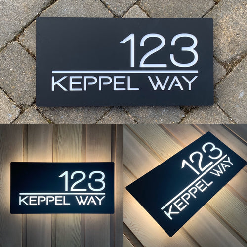 Large Illuminated LED Modern House Address Sign | Bespoke Address Plaque 40 x 20 cm - KREATIV DESIGN