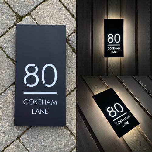 Large Illuminated LED Backlit House Sign/Bespoke Address Plaque 20cm x 40cm - KREATIV DESIGN