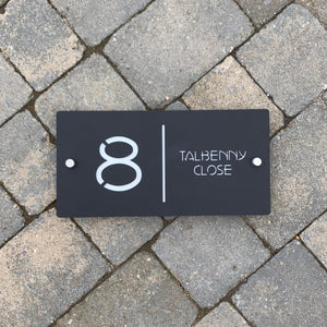 Modern Landscape Rectangle House Number Sign 30 cm x 15 cm - Kreativ Design Ltd