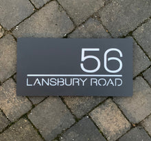 Load image into Gallery viewer, Modern Rectangle House Number and Address Sign 400 mm x 200 mm - KREATIV DESIGN