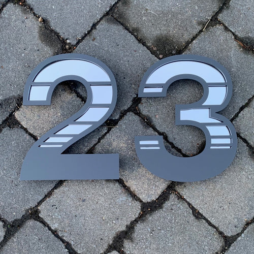 Unique Gradient Stripe House Number Digit Sign - KREATIV DESIGN
