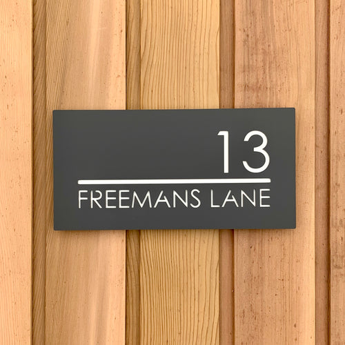 Modern Rectangle (Landscape) House Name / Number Sign 300 mm x 150 mm - KREATIV DESIGN