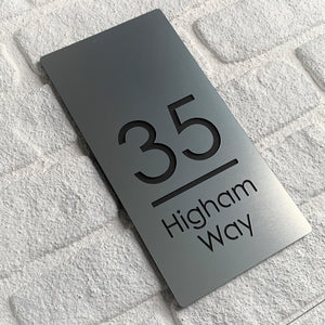 Brushed Metal Effect Modern Rectangle House Number and Address Sign 30 cm x 15 cm - KREATIV DESIGN