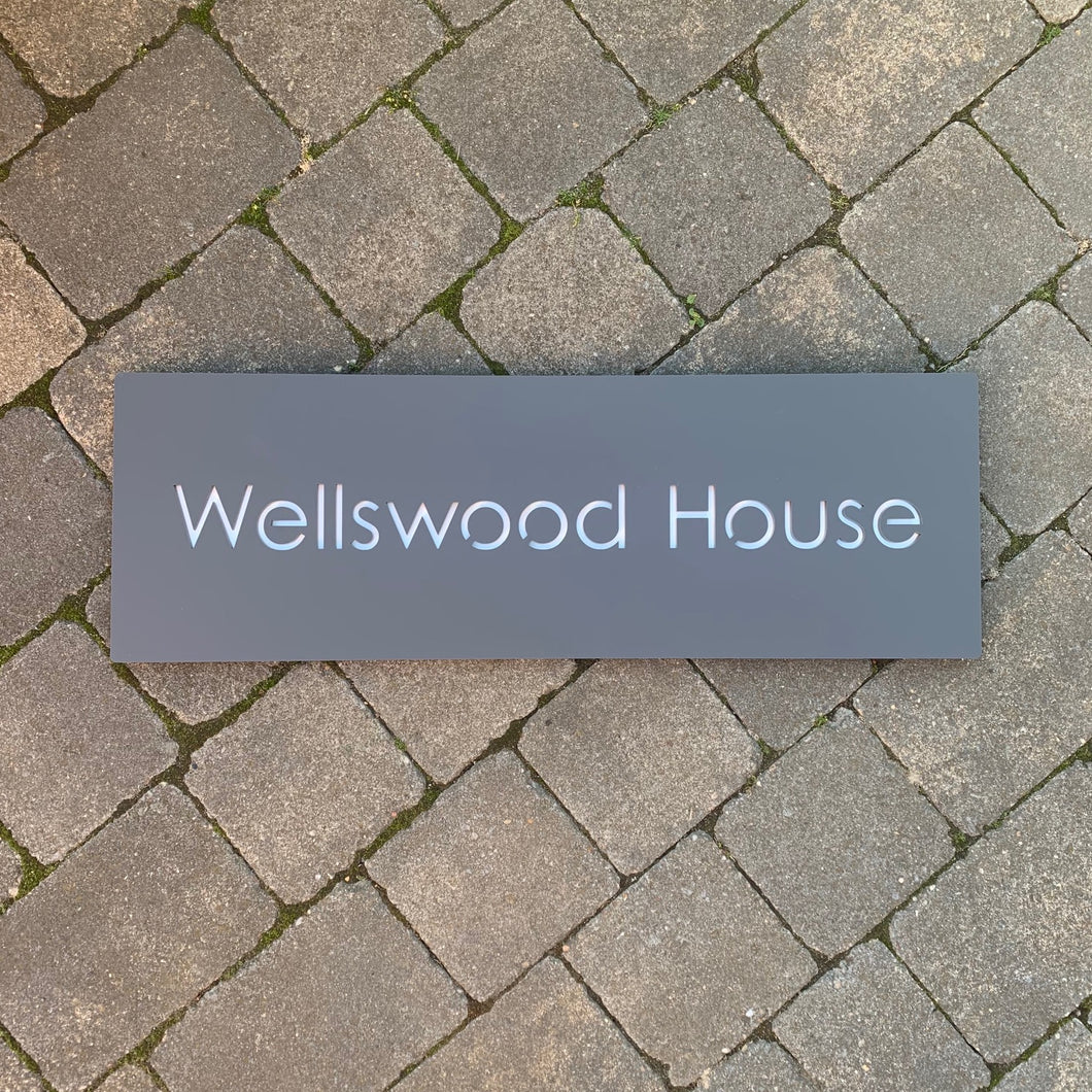 Modern Long Large Rectangle House Name / Address Sign 80 cm x 20 cm - Kreativ Design Ltd
