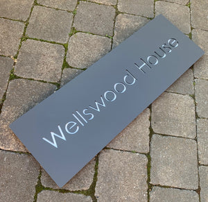 Modern Long Large Rectangle House Name / Address Sign 80 cm x 20 cm - KREATIV DESIGN