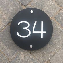 Charger l'image dans la galerie, Modern Round House Address Sign 20 cm Diameter - Kreativ Design Ltd