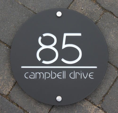 Modern Round House Number Address Sign 30 cm Diameter - KREATIV DESIGN
