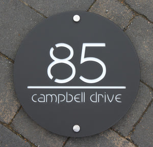 Modern Round House Number Address Sign 30 cm Diameter - Kreativ Design Ltd