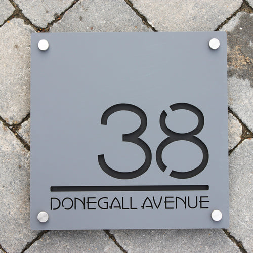 Modern Square House Number and Address Sign 30 cm x 30 cm - Kreativ Design Ltd