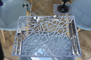 Geometric Placemat and Coaster set, Contemporary Laser Cut Rectangular Design in Thick Melange Felt - Kreativ Design Ltd