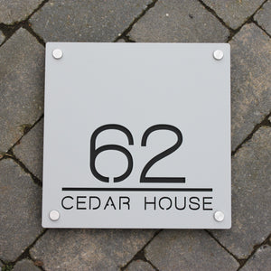 Modern Square House Number and Address Sign 30 cm x 30 cm - KREATIV DESIGN