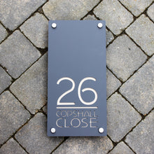 Load image into Gallery viewer, Modern Rectangle House Number and Address Sign Portrait Style 20 cm x 40 cm - KREATIV DESIGN