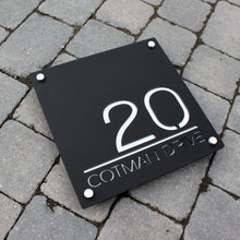 Lataa kuva Galleria-katseluun, Modern Square House Number and Address Sign 30 cm x 30 cm - Kreativ Design Ltd