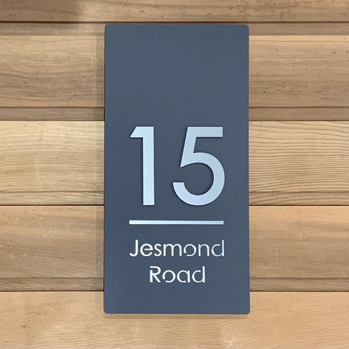 Modern Long Vertical Rectangle House Address Sign with 3D Digits 20 cm x 40 cm - KREATIV DESIGN