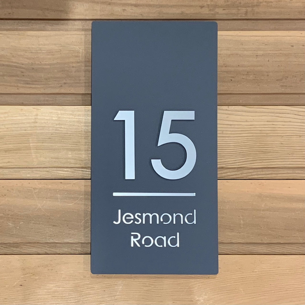 Modern Long Vertical Rectangle House Address Sign with 3D Digits 20 cm x 40 cm - Kreativ Design Ltd