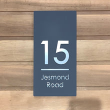 Load image into Gallery viewer, Modern Long Vertical Rectangle House Address Sign with 3D Digits 20 cm x 40 cm - Kreativ Design Ltd