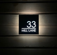 Load image into Gallery viewer, Illuminated Modern House Number Sign with Low voltage LED 20 x 20cm Address Plaque - Kreativ Design Ltd