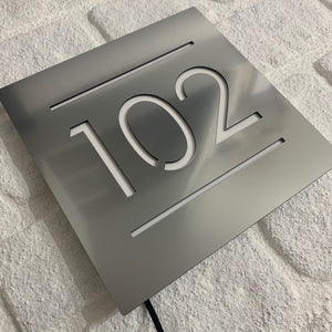 Illuminated Modern House Number Sign with Low voltage LED 20 x 20cm Address Plaque - Kreativ Design Ltd