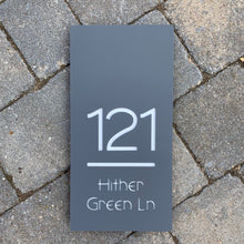 Load image into Gallery viewer, Modern Rectangle House Number and Address Sign Portrait Style 15 cm x 30 cm - KREATIV DESIGN