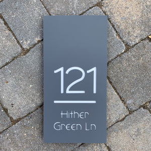 Modern Rectangle House Number and Address Sign Portrait Style 15 cm x 30 cm - KREATIV DESIGN