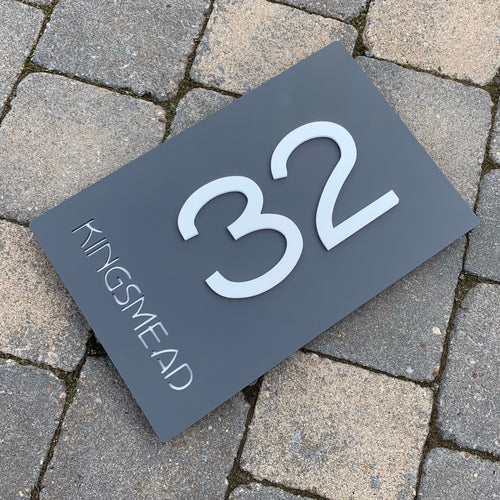 Modern Rectangle House Address Sign with 3D Digits 30 cm x 20 cm - KREATIV DESIGN