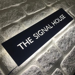 New Size! Large Illuminated LED House Name Sign | Modern Bespoke Backlit Address Plaque - Kreativ Design Ltd