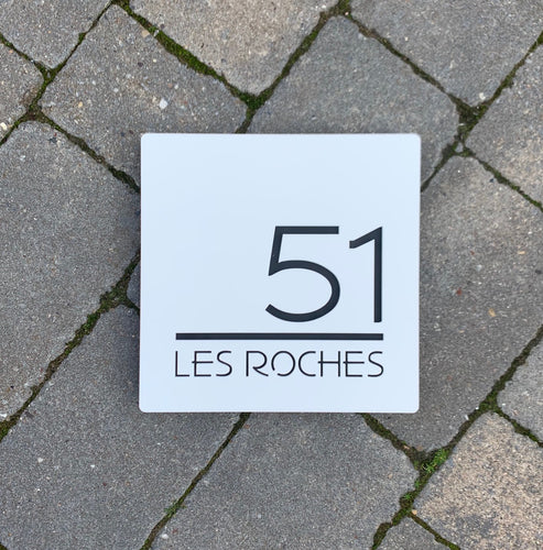 Modern Square House Number / Address Sign 20 cm x 20 cm - Kreativ Design Ltd