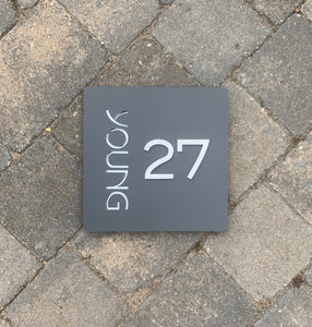Modern Square House Address Sign with 3D Digits 20 cm x 20 cm - Kreativ Design Ltd