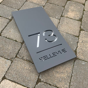 Modern Rectangle House Number and Address Sign Portrait Style 20 cm x 40 cm - KREATIV DESIGN