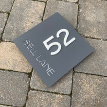 Load image into Gallery viewer, Modern Square House Address Sign with 3D Digits 20 cm x 20 cm - Kreativ Design Ltd