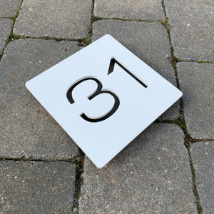 Modern Square House Number Sign 15 cm x 15 cm - Kreativ Design Ltd