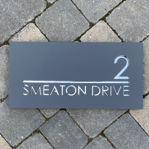 Modern Rectangle House Number and Address Sign 400 mm x 200 mm - KREATIV DESIGN