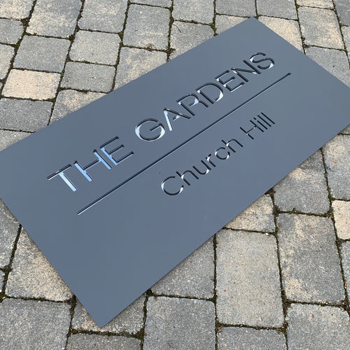 Modern Rectangle House Name / Address Sign 60 cm x 30 cm - Kreativ Design Ltd